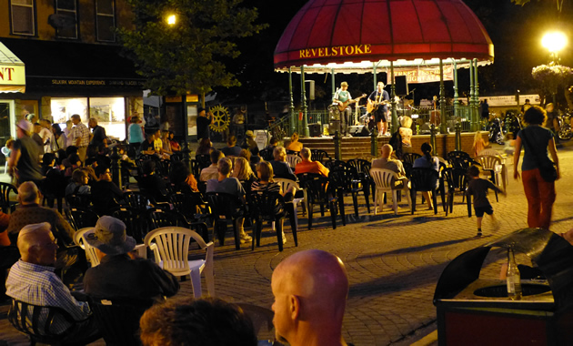 Revelstoke's Grizzly Plaza is a popular gathering place, shown here during Revelstoke's homecoming event.