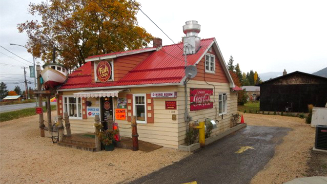 Red-roofed fish and chip shop in Creston, BC