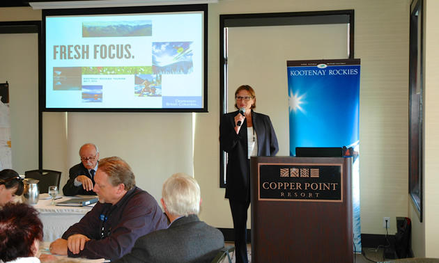 New Destination BC CEO Marsha Walden addresses the Kootenay Rockies Tourism Industry Conference