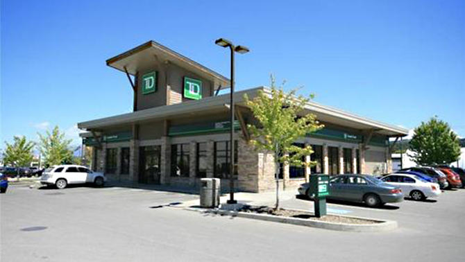TD Bank commercial building in Cranbrook, B.C