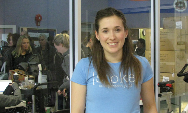 Jill Bentley-Lobban in a blue Stoke shirt.