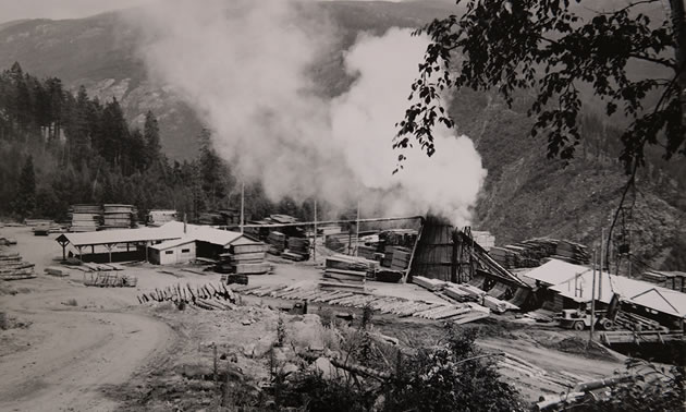 A black and white photo of a sawmill in the bush.