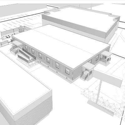 Architectural drawings of the recently-built homeless shelter in Chilliwack, B.C.
