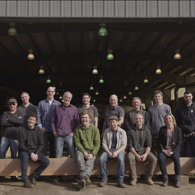 A staff photo of Spearhead Timberworks staff at the their production facility located at 4655 HIghway 3A