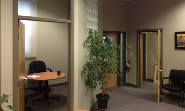 Offices and a hallway.