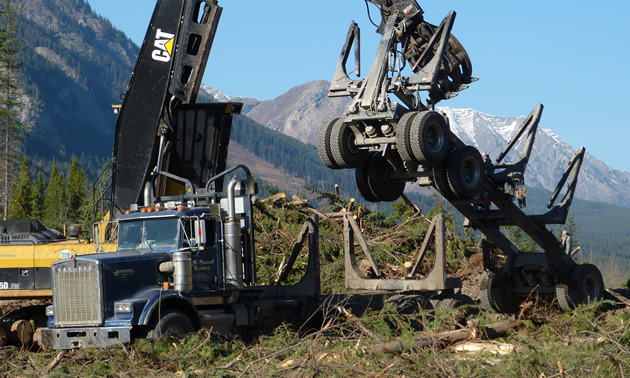 A loader lifting a trailer off a logging truck.