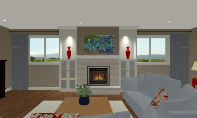A computer-generated image of a living room