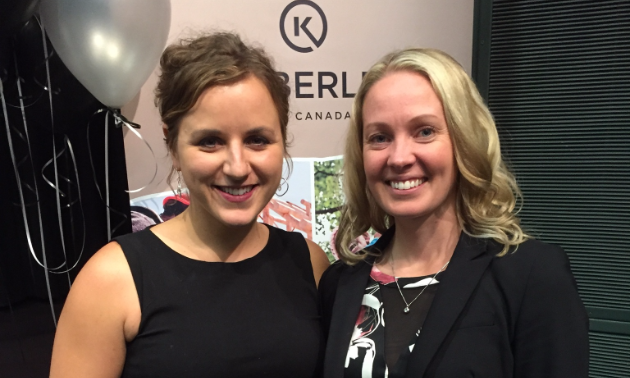 Kimberley Chamber of Commerce president, Rachelle Langlois, presents Allissa Keane (left) of Fruition Wellness with Business of the Year honours