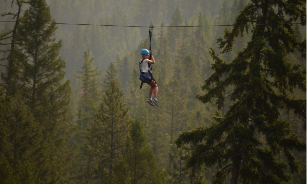 A child ziplines amidst a group of trees