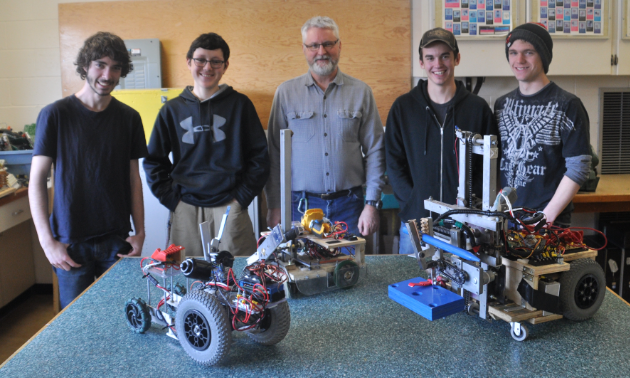 The Mount Baker Secondary School robotics program consists of (L to R) Dominic Lucas, Cesar Garcia Moreno, instructor Bill Walker, Thomas Keene and Ryley Holliday.