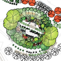 A concept drawing from birds eye view shows layers of trees and plants in a circular pattern.