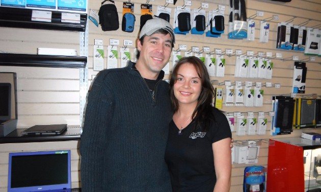 Reny Kitto and Carlie Wilkinson bring different skills to the electronics store.