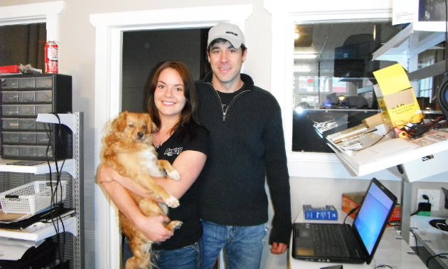 Reny Kitto and Carlie Wilkinson share their space at Arkay Computers in Nakusp with a pampered pooch.