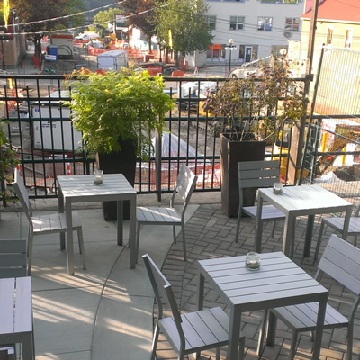 The patio at BiBO restaurant in Nelson overlooks the work being done on Hall Street