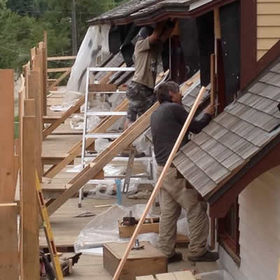 Construction workers renovate Nelson's old CPR station