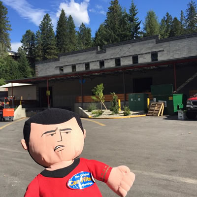 The Can-Filters mascot appears in front of their Six Mile location north of Nelson