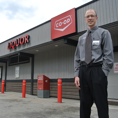 Chris Sapriken, general manager, stands in front of the Slocan Valley Co-op.