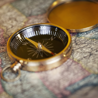A directional compass and map are basic navigational tools.