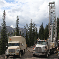 Drilling activity on-site at Crown Mountain during the summer of 2014