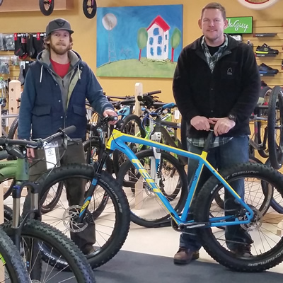 Adam Pomeroy (left) and Rob Gretchen opened Cycology Bikes Inc. in Castlegar, B.C. in April 2016.
