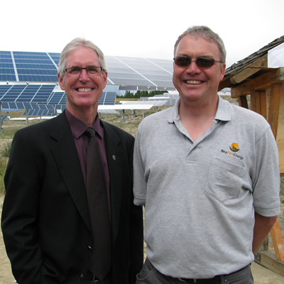 (L to R) Don McCormick, mayor of Kimberley, B.C., and David Kelly, CEO of SkyFire Energy, at the SunMine official opening