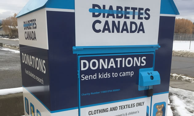 The new blue and white Diabetes Canada 'Clothesline' bins.
