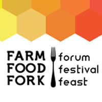 A banner lists details on dates for the Farm, Food, Fork event. Behind it is colourful honeycomb.