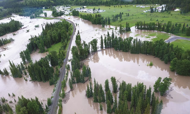Aerial view of valley flooding.