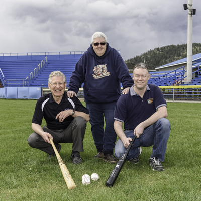 The 36th Grand Forks International baseball tournament is organized and run by volunteers including these: (L to R) Gerry Foster, GFI president; Chris Hammett, GFI treasurer; Kevin McKinnon, GFI board member.