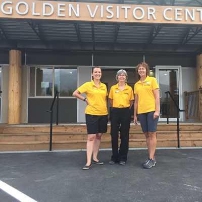 (L to R) Alycia Weir, visitor services manager at the Golden Visitor Information Services & Amenities Hub, with Constance Fowler and Mary Jacobson, visitor information counsellors.