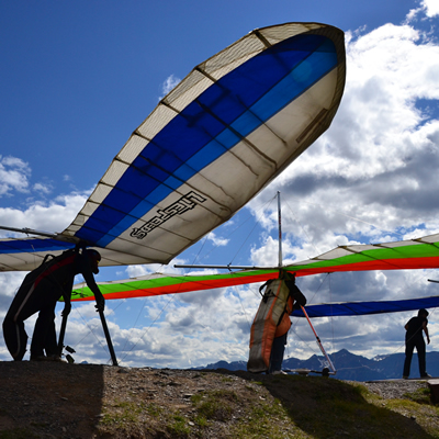Mount 7, near Golden, B.C., is a popular launch site for people-powered flight.