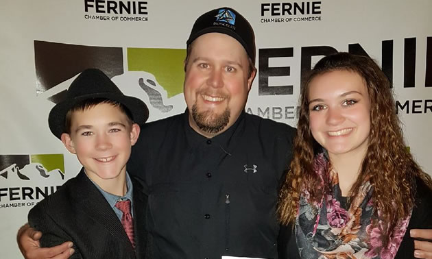 Ryan Doehle of Isoceles IT (pictured here with his family) was named Fernie Chamber of Commerce's Entrepreneur of the Year for 2017.