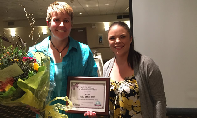 Jakki Van Hemert (L) of Trail, B.C. received a 2015 Influential Women in Business (West Kootenay) Award from Kootenay Business magazine.