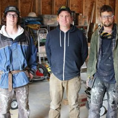 Warfield's Jinjoe Construction is one of the West Kootenay companies that helps Selkirk College trades students earn their Red Seal ticket. (L-R) Apprentice Levi Schwarzer, company owner Jonathan Jinjoe and carpentry Journeyperson James Benson are currently working on a residential retrofit in Rossland.