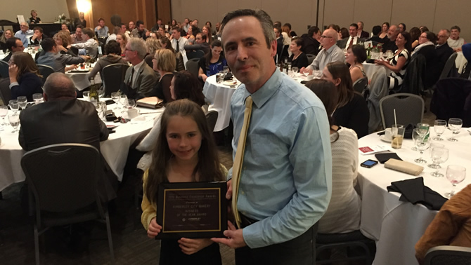 Eric Forbes and his daughter Natasha proudly accept the Kimberley business of the year award at the Kimberley Chamber's gala dinner.