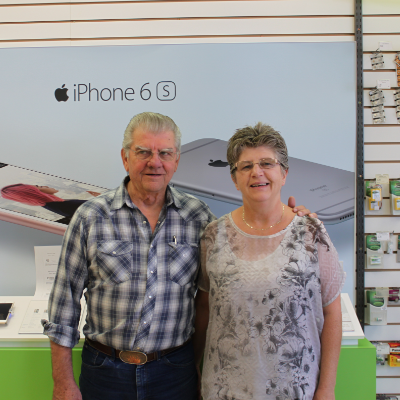Irvin and Evelyn Sobry pose inside their store, Lectric Avenue Electronics.