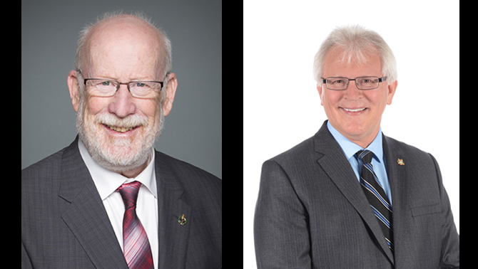 (L) MP Richard Cannings (South Okanagan-West Kootenay) and MP Wayne Stetski (Kootenay-Columbia)