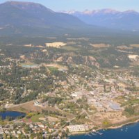 Aerial view of the town of Invermere.
