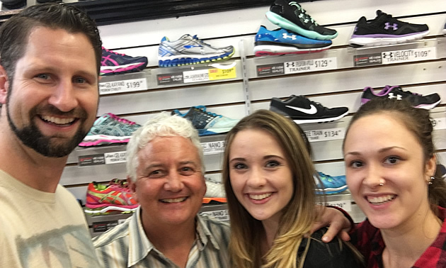 Mike Balance, Dale Donaldson, Christina Champlin and Cassandra Urbshas of Mallard's Source for Sports in Nelson, B.C.