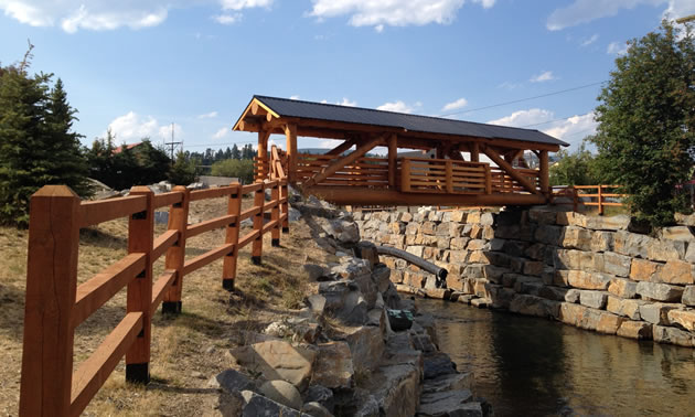 Community awards for building with wood kootenay business for Timber frame bridge