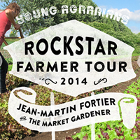 A woman plows between a row of veggies and an overlay gives info on the Rockstar Farmer Tour.