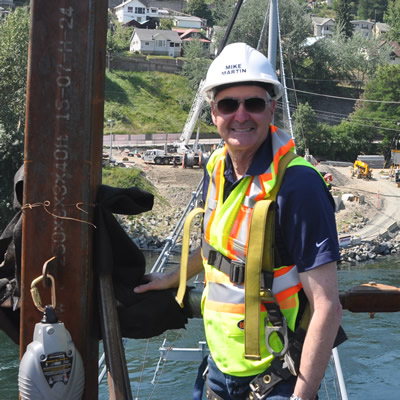 Mike Martin, mayor of Trail, B.C., enjoys the view from the partly-completed Columbia River Skywalk.
