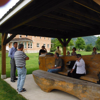 A comfortable conversation bench is featured on the grounds of the Mir Centre for Peace, located on the Castlegar campus of Selkirk College.