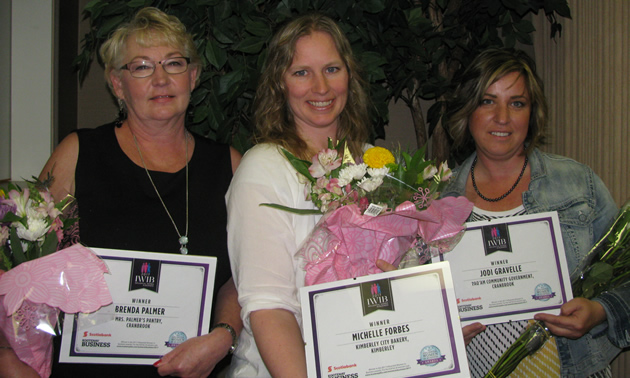 (L to R) Brenda Palmer, Michelle Forbes and Jodi Gravelle received special recognition at the 2017 Kootenay Business magazine Influential Women in Business luncheon on June 8, 2016.
