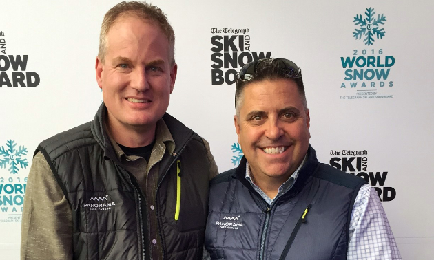 (L to R) Marke Dickson and Steve Paccagnan of Panorama Mountain Resort accept the award for North American Resort of the Year in London, U.K., at The Telegraph Ski and Snowboard Show.