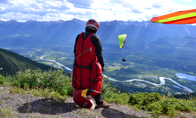 Mount 7 in Golden, B.C., is a popular launch site for person-powered flight.