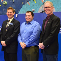 (L to R) Wendy Booth, vice-chair, RDEK; Keith Powell, publisher, Kootenay Business magazine; David Hull, Cranbrook Chamber of Commerce; Wesley Graham, acting mayor, City of Cranbrook; and Don McCormick, mayor, Kimberley, B.C.