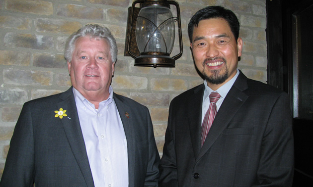 Lee Pratt (left), mayor of Cranbrook, with David Kim, Cranbrook CAO, at the April 19 chamber of commerce luncheon