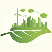 A logo of a leaf with a renewable city on top of it.