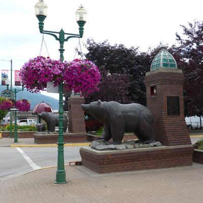 Grizzly Plaza is a landmark in Revelstoke, B.C.